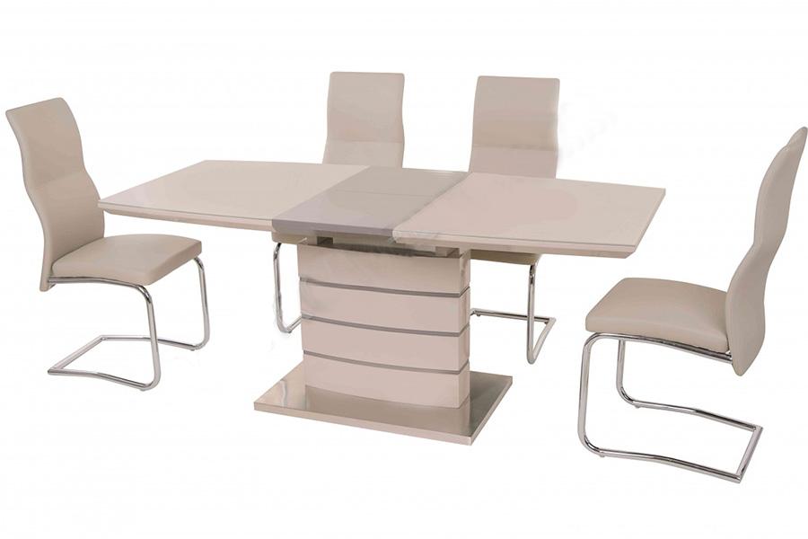 Современные кухонные столы из стекла и МДФ, а также стулья к ним.